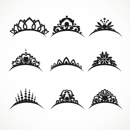 Set of silhouettes of tiaras of various shapes with flowers and hearts  on a white background Vectores