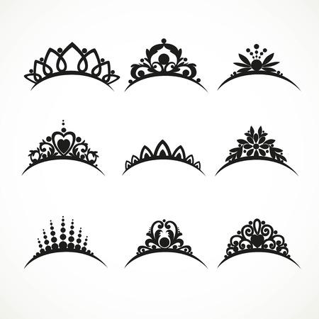 Jeu de silhouettes de tiares de différentes formes avec des fleurs et des coeurs sur un fond blanc Banque d'images - 61585227