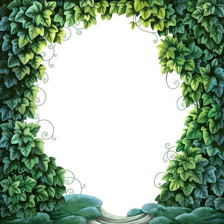 흰색 배경에 녹색 아이비와 이끼의 텍스트 장식 마법의 숲 프레임 일러스트