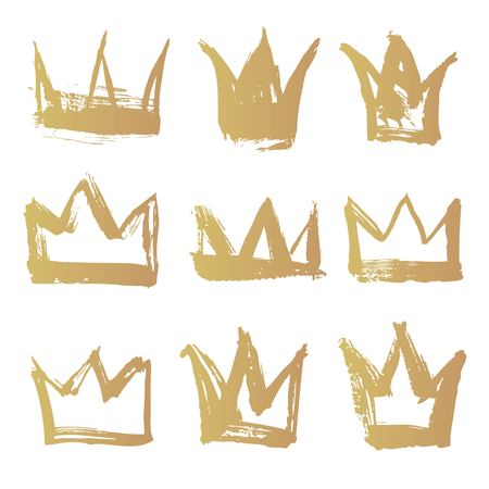 object complement: Set golden texture strokes thick paint in the form of a crown isolated on white background