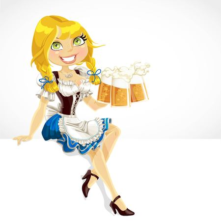 bavarian girl: Pretty Blond with a glass Oktoberfest beer sit on white banner