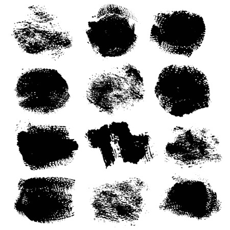 black textured background: Abstract textured strokes and prints thick black gouache paint isolated on a white background