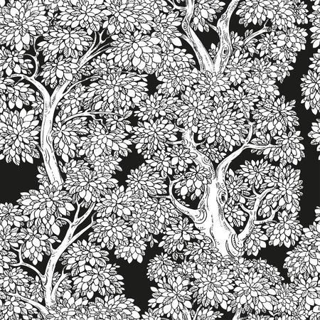 graphically: Seamless pattern from graphically drawing trees  black and white background