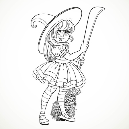 scary story: Cute little girl dressed as witch with a broom standing on a white background outline for coloring