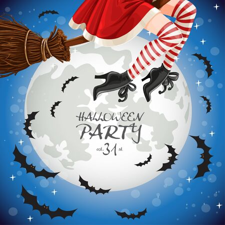 Witch flying on a broomstick banner with full moon  イラスト・ベクター素材