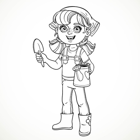rubber boots: Cute little girl in jeans overalls and rubber boots holding a watering for flowers and shovel line drawing for coloring on a white background Illustration