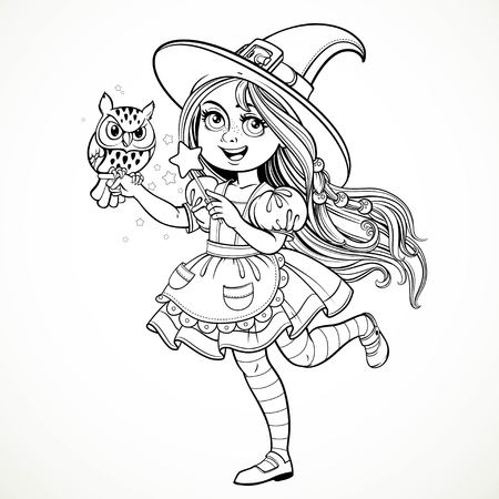 girl magic wand: Cute little girl dressed as witch with a owl and magic wand standing on a white background outline for coloring