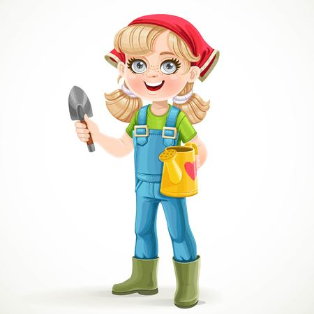 agrarian: Cute little girl in jeans overalls and rubber boots holding a watering for flowers and shovel isolated on a white background Illustration