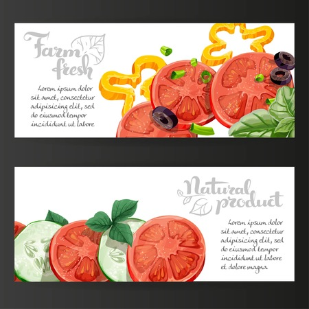 basil: Two horizontal banners with fresh vegetables on a black background