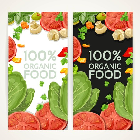 fresh food: White and black vertical banners with vegetarian fresh organic natural food