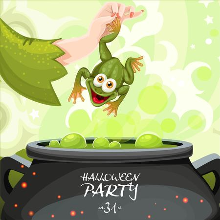 magic cauldron: Poster for Halloween party throwing a toad in a magic potion cauldron