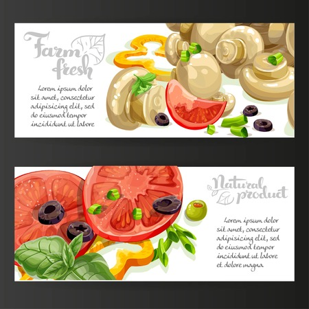 basil: Two horizontal banners with fresh vegetables and marinated champignons on a black background Illustration