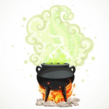 Caldera de las brujas con la poción verde y vapor para calentar el objeto aislado en el fondo blanco