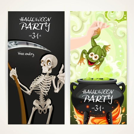 magic cauldron: Vertical banners for Halloween party with Death with a scythe and arm throwing a toad in a magic potion cauldron Illustration