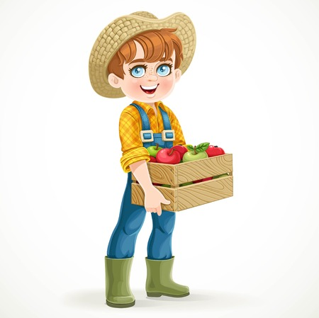 agrarian: Cute boy farmer in jeans overalls and rubber boots holding a wooden box with apple isolated on white background