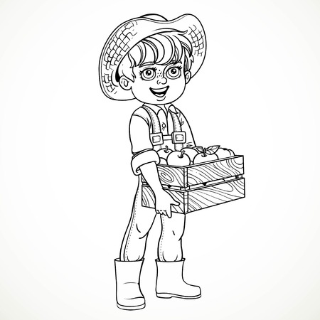 apple isolated: Cute boy farmer in jeans overalls and rubber boots holding a wooden box with apple line drawing for coloring isolated on white background