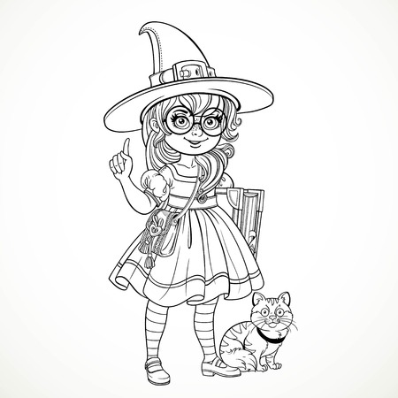 girl wearing glasses: Girl nerd wearing glasses and a suit witch tells something at her feet sits a cat outline for coloring