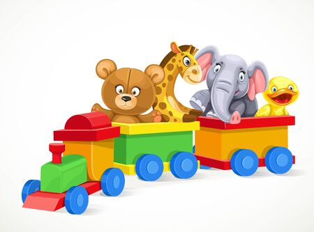 baby playing toy: Toy train with soft toys on the train isolated on white background