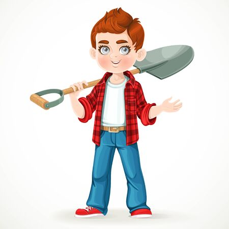 Cute boy farmer in jeans holding a shovel on his shoulder and something tells isolated on white background