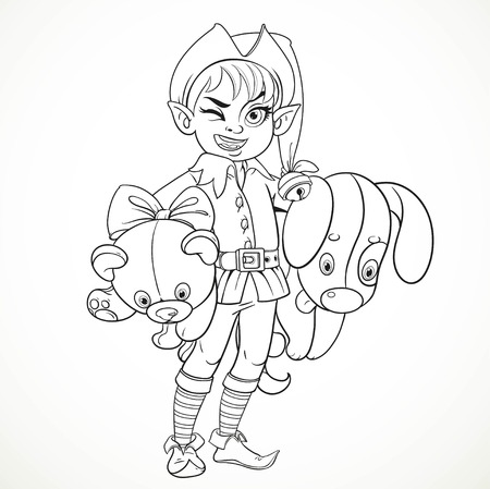 underarm: Cute boy elf Santas assistant holding underarm large plush toy dog and teddy bear outlined for coloring isolated on a white background Illustration
