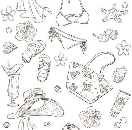blinkers: Seamless pattern on a beach theme - goggles, a swimsuit, clams on a white background