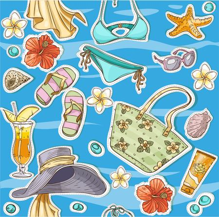blinkers: color seamless background on a beach theme - goggles, a swimsuit, clams Illustration