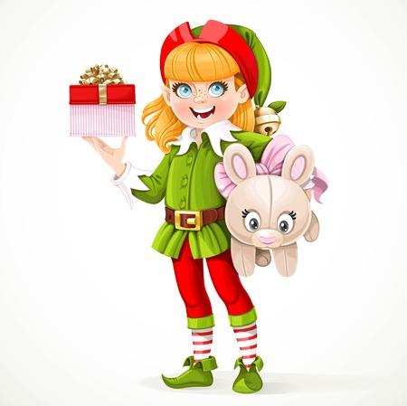 Cute girl elf Santas assistant holding underarm large plush toy hare and box with a gift in the other hand  isolated on a white background