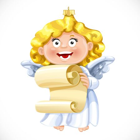 hymn: Christmas tree decorations toy  little blond angel sings a hymn written in the scroll of parchment isolated on white background Illustration