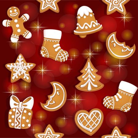 homemade cake: Seamless texture of Christmas gingerbread on red background