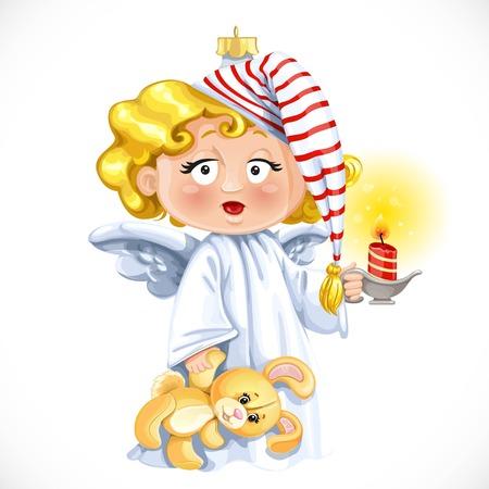 candleholder: Christmas tree decorations toy  little angel with candleholder with candle isolated on white background Illustration