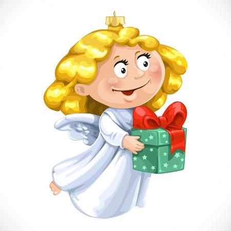 Decorazioni dell'albero di Natale giocattolo piccolo angelo con regalo in mani isolato su sfondo bianco Archivio Fotografico - 67488104