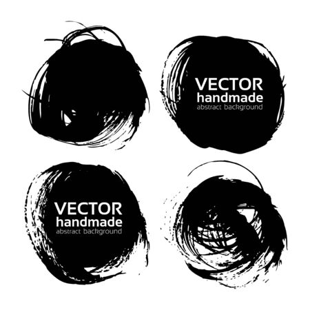 stamp design: Rround textured strokes painted by brush vector objects isolated on a white background