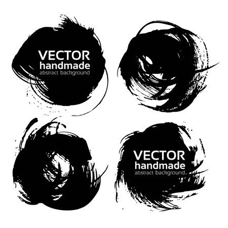 splatter paint: Round abstract black strokes vector objects isolated on a white background Illustration