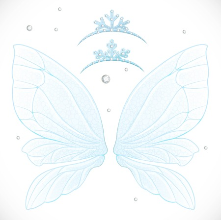 object complement: Fairy blue winter wings with snow tiaras bundled isolated on a white background