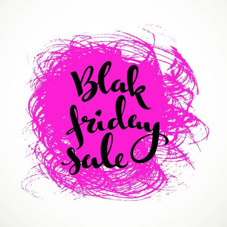 black textured background: Black friday sale  calligraphic inscription on a pink textured background smear