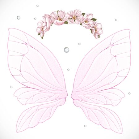 object complement: Pink fairy wings with wreath of pink spring flowers bundled isolated on a white background
