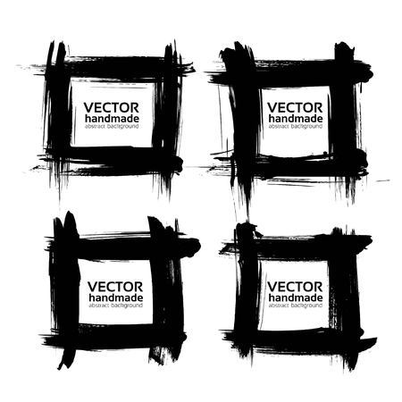 black textured background: Square frames from thick black textured strokes vector isolated on a white background