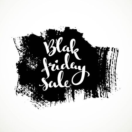 black textured background: Black friday sale white calligraphic inscription on a  rectangular textured background smear Illustration