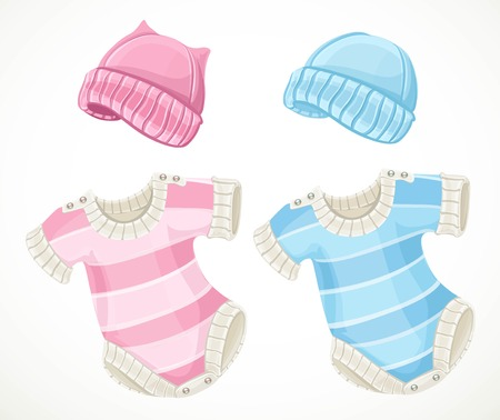 Pink and blue sets for baby coveralls and hat isolated object on a white background