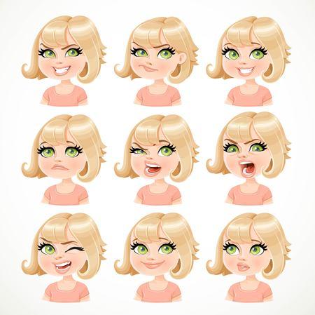 Belle bande dessinée portrait de jeune fille blonde de différents états émotionnels isolé sur fond blanc