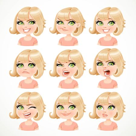 Mooi portret van het beeldverhaal het blonde meisje van verschillende emotionele staten die op witte achtergrond worden geïsoleerd Vector Illustratie