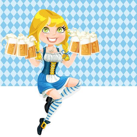 girl glasses: Cute girl  sitting on the banner and offers Oktoberfest beer