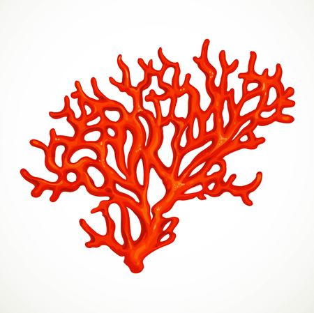 Red corals sea life object isolated on white background Illustration