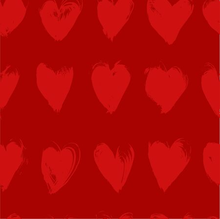 smears: Red seamless pattern from red textured smears heart shapes