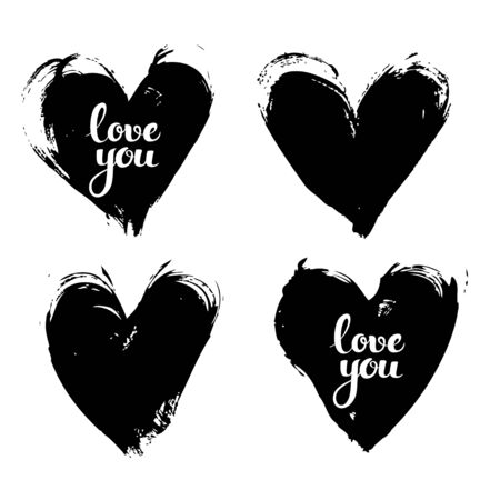 smears: Black textured smears heart shapes with love you calligraphic inscription vector objects isolated on a white background