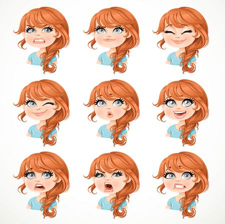Beautiful cartoon brunette girl portrait of different emotional states set 3 isolated on white background Vettoriali