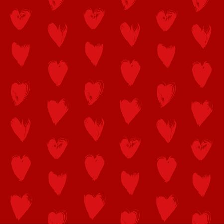smears: Seamless red pattern from red textured heart shapes smears