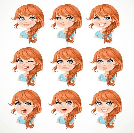 白い背景に分離されたさまざまな感情的な状態の茶色の髪の肖像画と美しい漫画ブルネットの少女