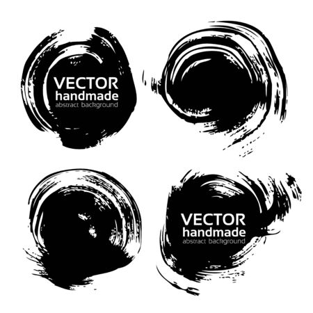 smears: Round abstract backgrounds smears vector objects isolated on a white background Illustration