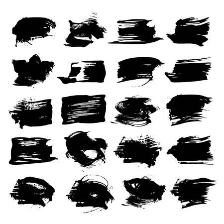 black textured background: Abstract textured strokes black paint isolated on a white background Illustration
